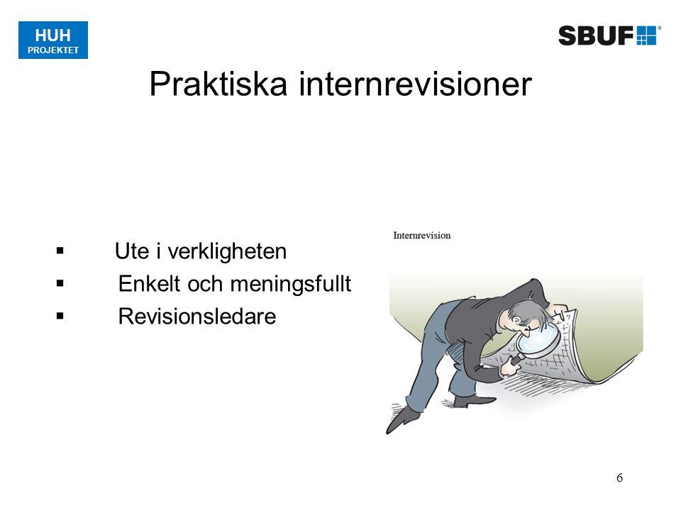 HUH PROJEKTET 6 Praktiska internrevisioner  Ute i verkligheten  Enkelt och meningsfullt  Revisionsledare