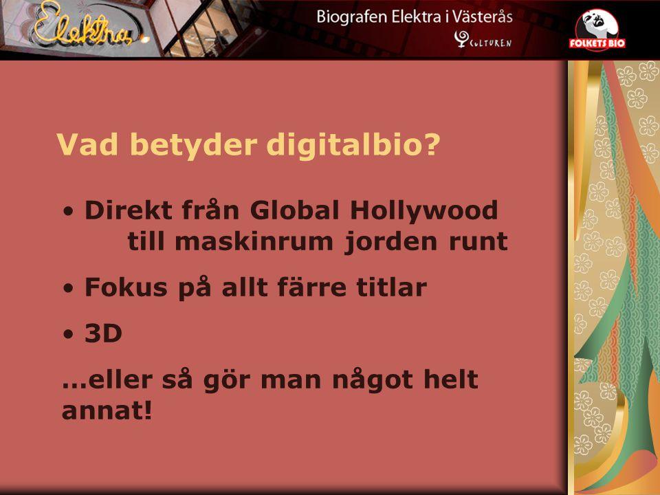 Vad betyder digitalbio? Direkt från Global Hollywood till maskinrum jorden runt Fokus på allt färre titlar 3D …eller så gör man något helt annat!