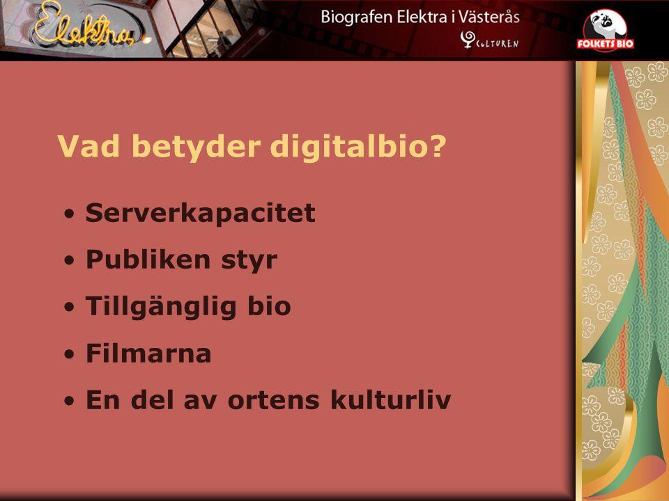 Vad betyder digitalbio? Serverkapacitet Publiken styr Tillgänglig bio Filmarna En del av ortens kulturliv