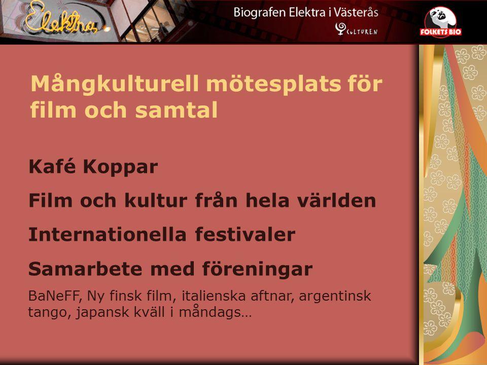 Mångkulturell mötesplats för film och samtal Kafé Koppar Film och kultur från hela världen Internationella festivaler Samarbete med föreningar BaNeFF, Ny finsk film, italienska aftnar, argentinsk tango, japansk kväll i måndags…