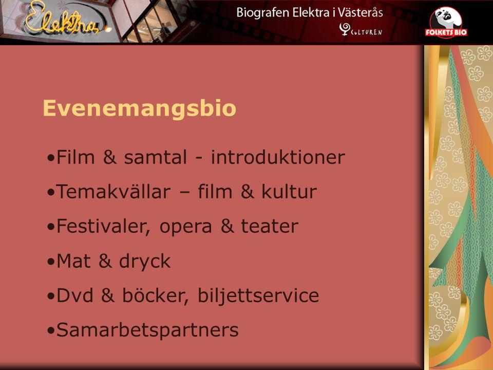 Evenemangsbio Film & samtal - introduktioner Temakvällar – film & kultur Festivaler, opera & teater Mat & dryck Dvd & böcker, biljettservice Samarbetspartners