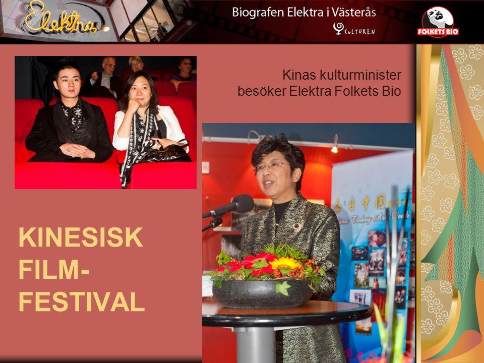 KINESISK FILM- FESTIVAL Kinas kulturminister besöker Elektra Folkets Bio