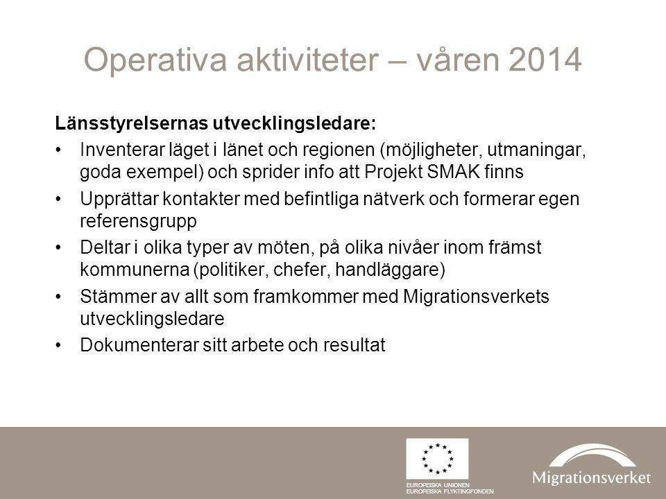 Operativa aktiviteter – våren 2014 Länsstyrelsernas utvecklingsledare: Inventerar läget i länet och regionen (möjligheter, utmaningar, goda exempel) o