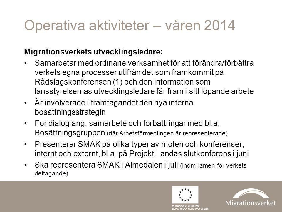 Operativa aktiviteter – våren 2014 Migrationsverkets utvecklingsledare: Samarbetar med ordinarie verksamhet för att förändra/förbättra verkets egna pr