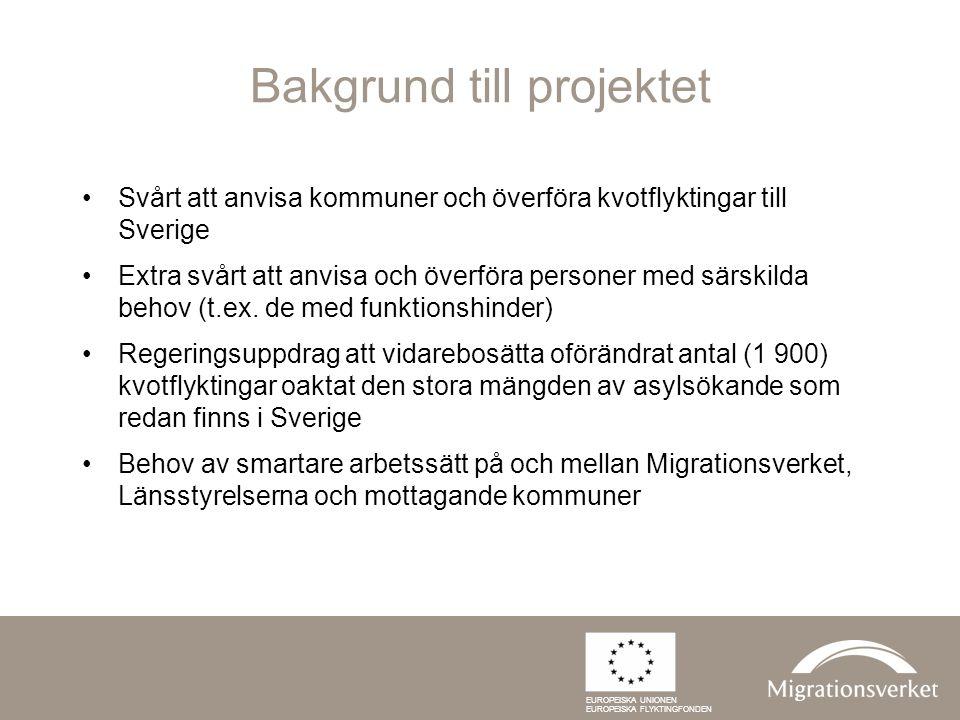 Projektidén Översyn över rådande arbetssätt Kartläggning av utvecklingsbehov Samordning av tidigare framgångsrikt arbete Spridning av goda exempel Utveckling och testning av nya arbetssätt Formulering av en ny modell för bosättning och mottagande av kvotflyktingar, med fokus på personer med behov av särskilt stöd EUROPEISKA UNIONEN EUROPEISKA FLYKTINGFONDEN