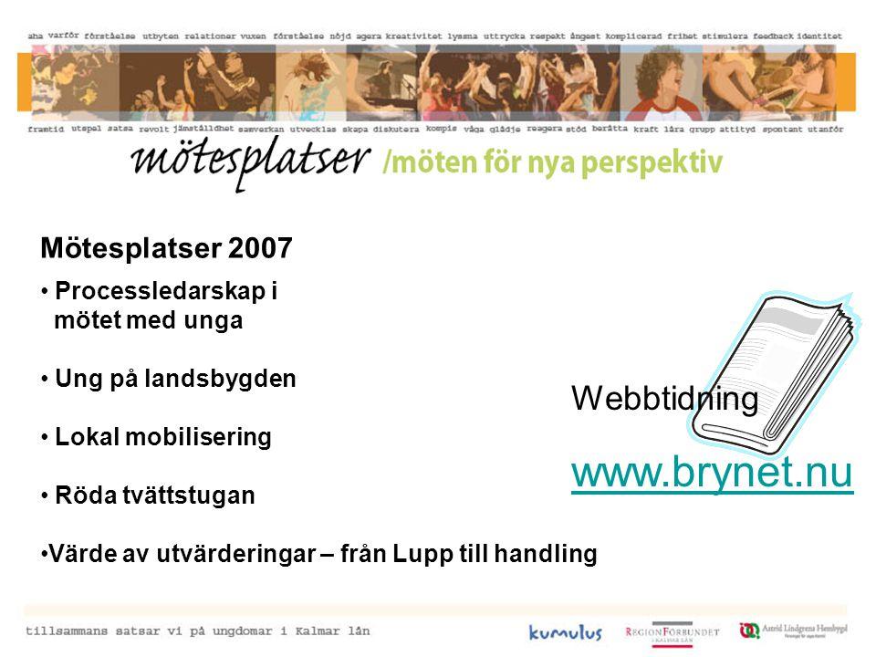 Mötesplatser 2007 Processledarskap i mötet med unga Ung på landsbygden Lokal mobilisering Röda tvättstugan Värde av utvärderingar – från Lupp till handling Webbtidning www.brynet.nu