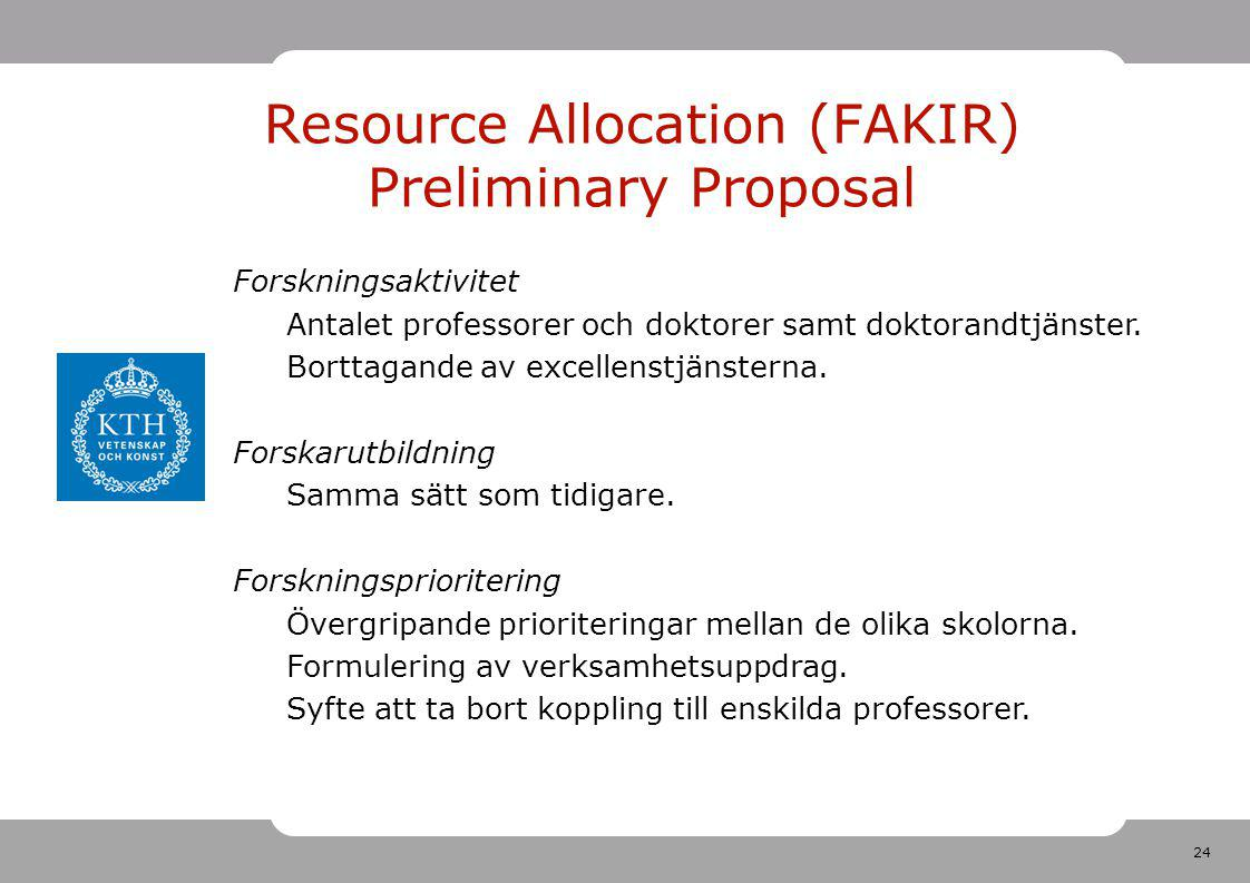 24 Resource Allocation (FAKIR) Preliminary Proposal Forskningsaktivitet Antalet professorer och doktorer samt doktorandtjänster. Borttagande av excell