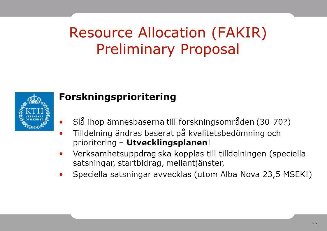 25 Resource Allocation (FAKIR) Preliminary Proposal Forskningsprioritering Slå ihop ämnesbaserna till forskningsområden (30-70?) Tilldelning ändras baserat på kvalitetsbedömning och prioritering – Utvecklingsplanen.
