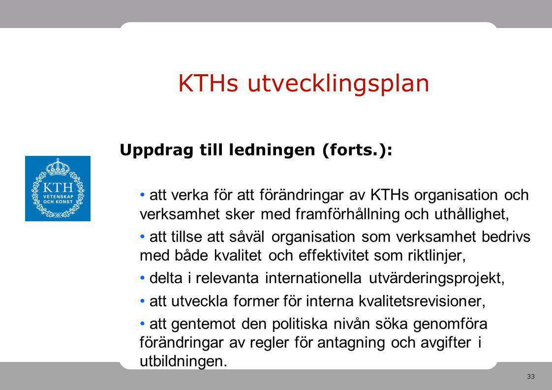 33 KTHs utvecklingsplan Uppdrag till ledningen (forts.): att verka för att förändringar av KTHs organisation och verksamhet sker med framförhållning o