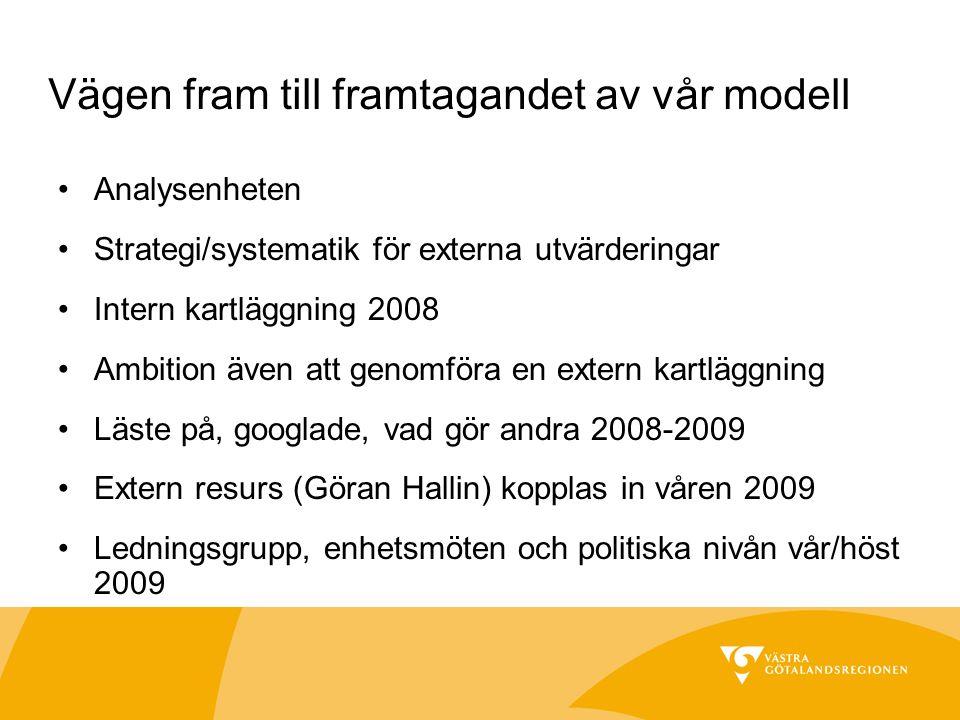 Vägen fram till framtagandet av vår modell Analysenheten Strategi/systematik för externa utvärderingar Intern kartläggning 2008 Ambition även att genomföra en extern kartläggning Läste på, googlade, vad gör andra 2008-2009 Extern resurs (Göran Hallin) kopplas in våren 2009 Ledningsgrupp, enhetsmöten och politiska nivån vår/höst 2009