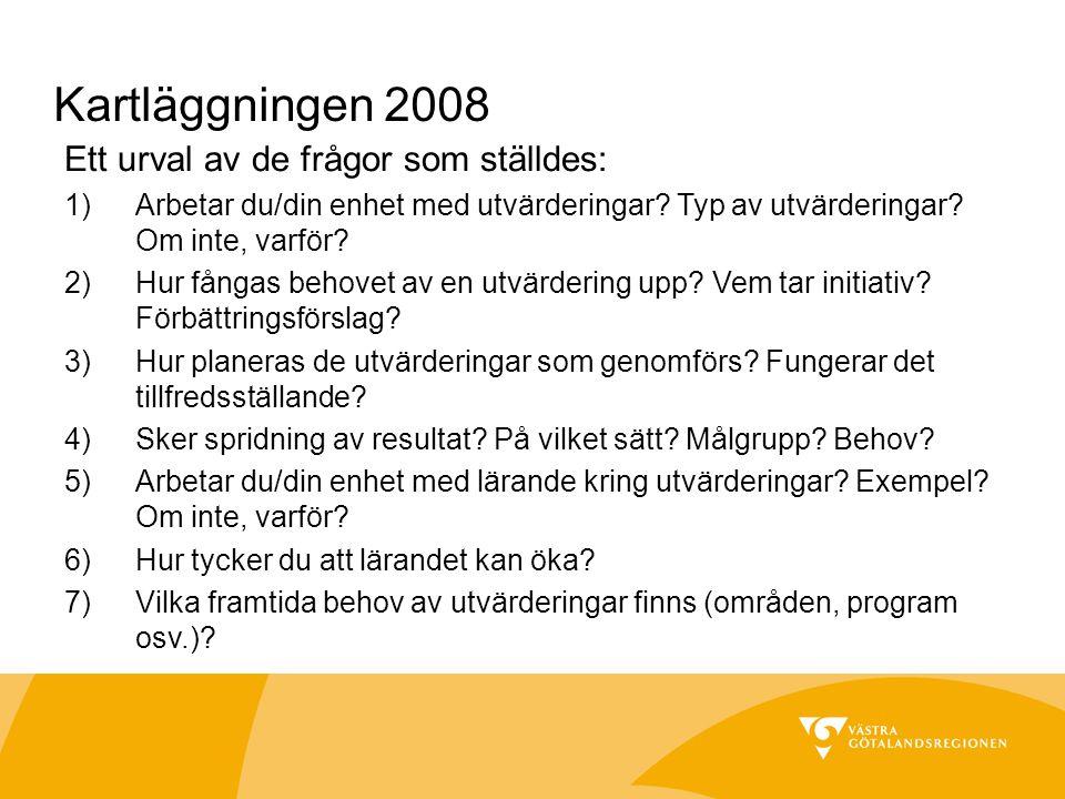 Kartläggningen 2008 Ett urval av de frågor som ställdes: 1)Arbetar du/din enhet med utvärderingar.
