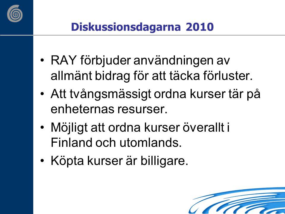 Diskussionsdagarna 2010 RAY förbjuder användningen av allmänt bidrag för att täcka förluster.