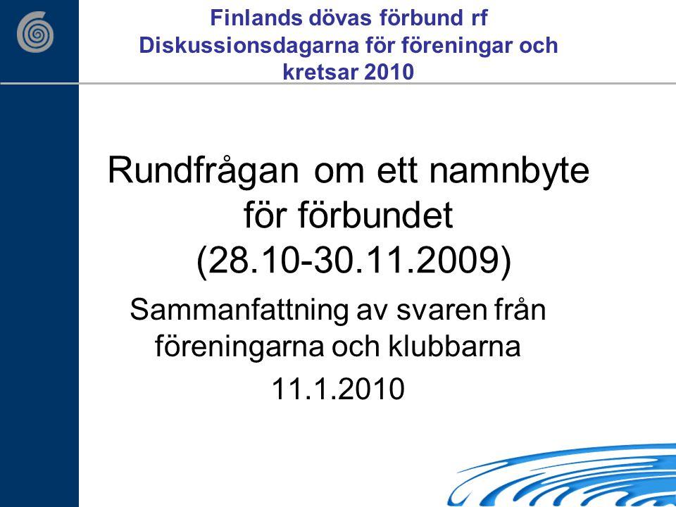Rundfrågan om ett namnbyte för förbundet (28.10-30.11.2009) Sammanfattning av svaren från föreningarna och klubbarna 11.1.2010 Finlands dövas förbund rf Diskussionsdagarna för föreningar och kretsar 2010