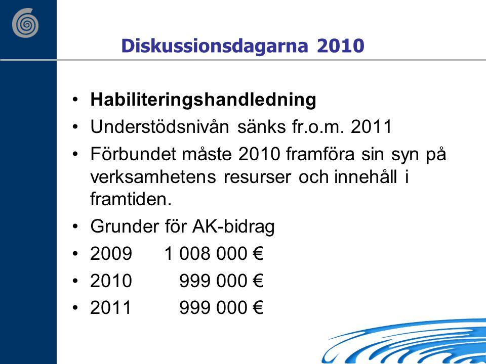 Diskussionsdagarna 2010 Habiliteringshandledning Understödsnivån sänks fr.o.m.