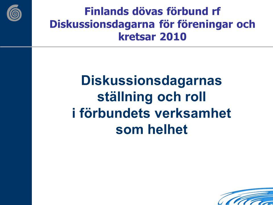 Finlands dövas förbund rf Diskussionsdagarna för föreningar och kretsar 2010 Diskussionsdagarnas ställning och roll i förbundets verksamhet som helhet