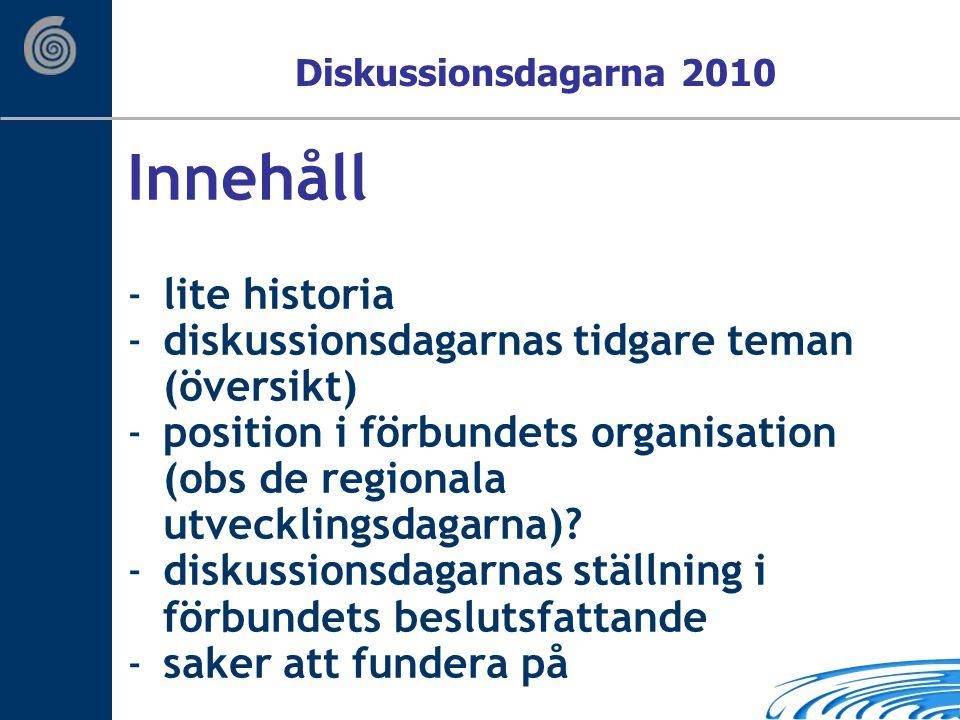 Innehåll -lite historia -diskussionsdagarnas tidgare teman (översikt) -position i förbundets organisation (obs de regionala utvecklingsdagarna).
