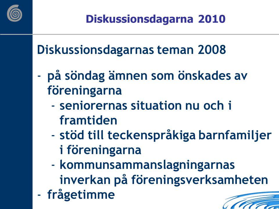 Diskussionsdagarnas teman 2008 -på söndag ämnen som önskades av föreningarna -seniorernas situation nu och i framtiden -stöd till teckenspråkiga barnfamiljer i föreningarna -kommunsammanslagningarnas inverkan på föreningsverksamheten -frågetimme Diskussionsdagarna 2010