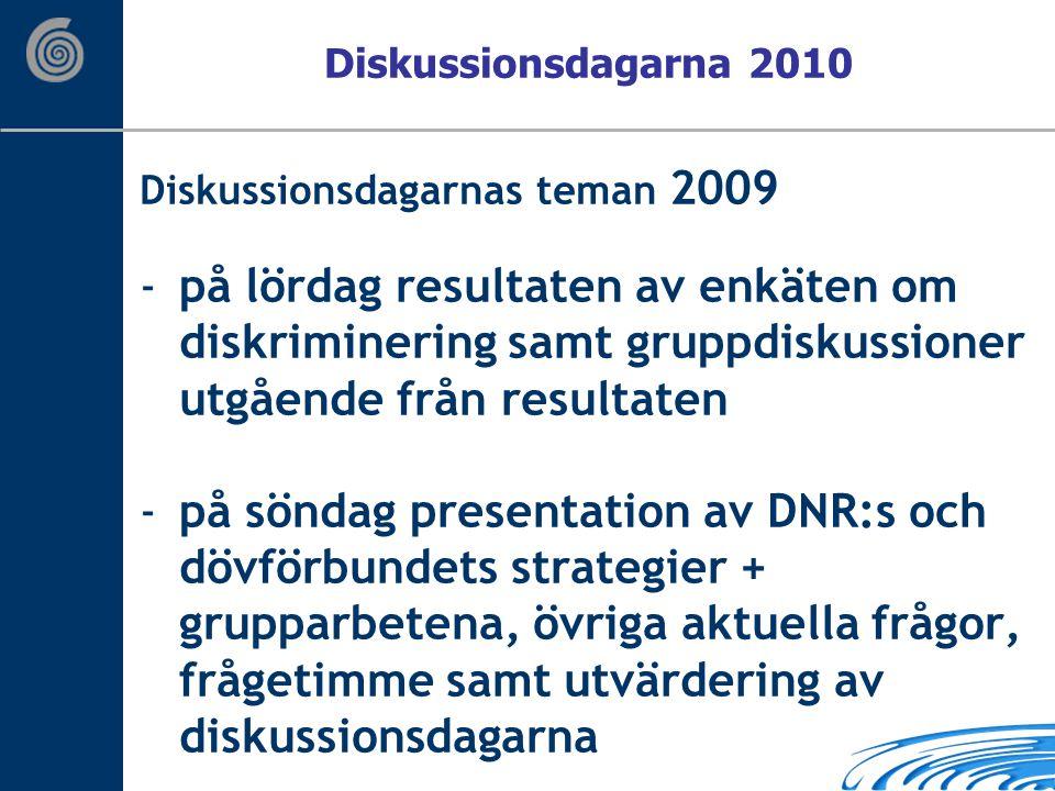 Diskussionsdagarnas teman 2009 -på lördag resultaten av enkäten om diskriminering samt gruppdiskussioner utgående från resultaten -på söndag presentation av DNR:s och dövförbundets strategier + grupparbetena, övriga aktuella frågor, frågetimme samt utvärdering av diskussionsdagarna Diskussionsdagarna 2010