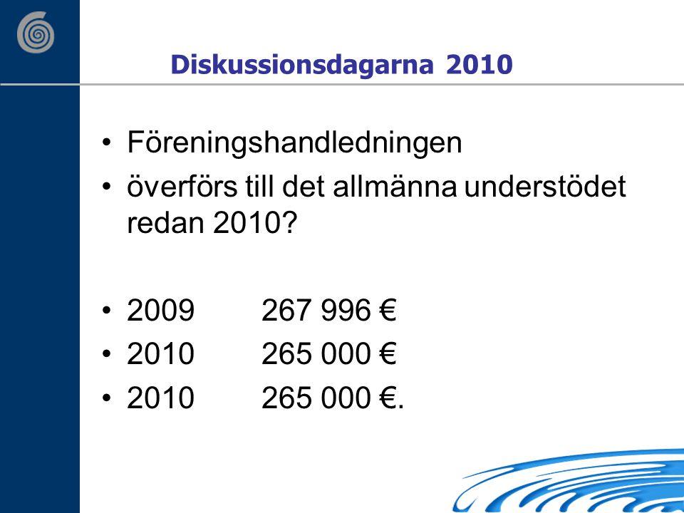 Diskussionsdagarna 2010 Föreningshandledningen överförs till det allmänna understödet redan 2010.