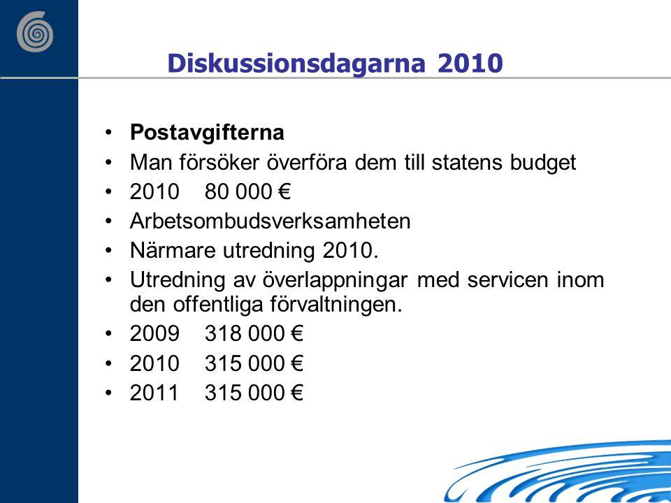 Diskussionsdagarna 2010 Postavgifterna Man försöker överföra dem till statens budget 2010 80 000 € Arbetsombudsverksamheten Närmare utredning 2010.