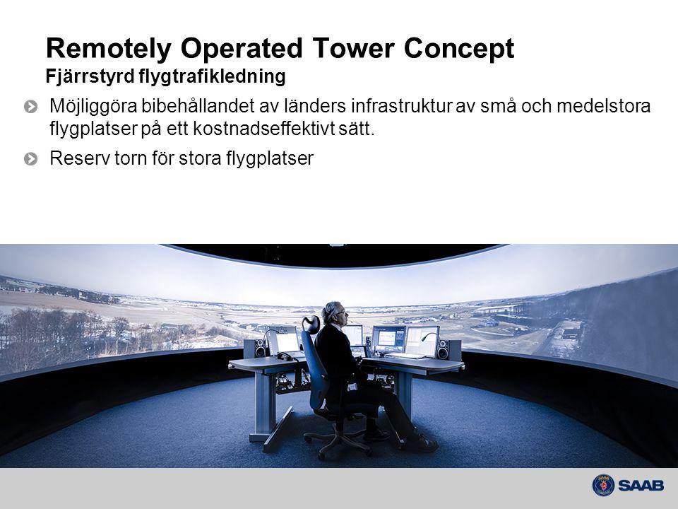 Remotely Operated Tower Concept Fjärrstyrd flygtrafikledning Möjliggöra bibehållandet av länders infrastruktur av små och medelstora flygplatser på ett kostnadseffektivt sätt.