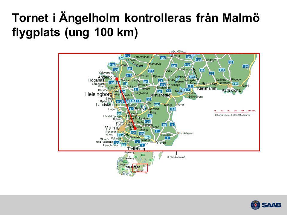 Tornet i Ängelholm kontrolleras från Malmö flygplats (ung 100 km)