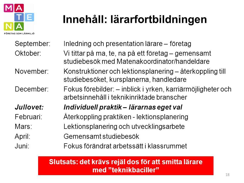 Innehåll: lärarfortbildningen 18 September: Inledning och presentation lärare – företag Oktober: Vi tittar på ma, te, na på ett företag – gemensamt st