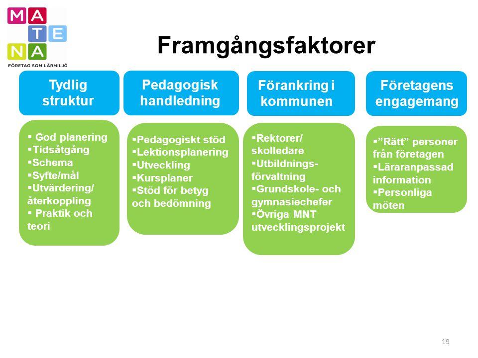Framgångsfaktorer 19 Förankring i kommunen Företagens engagemang  God planering  Tidsåtgång  Schema  Syfte/mål  Utvärdering/ återkoppling  Prakt
