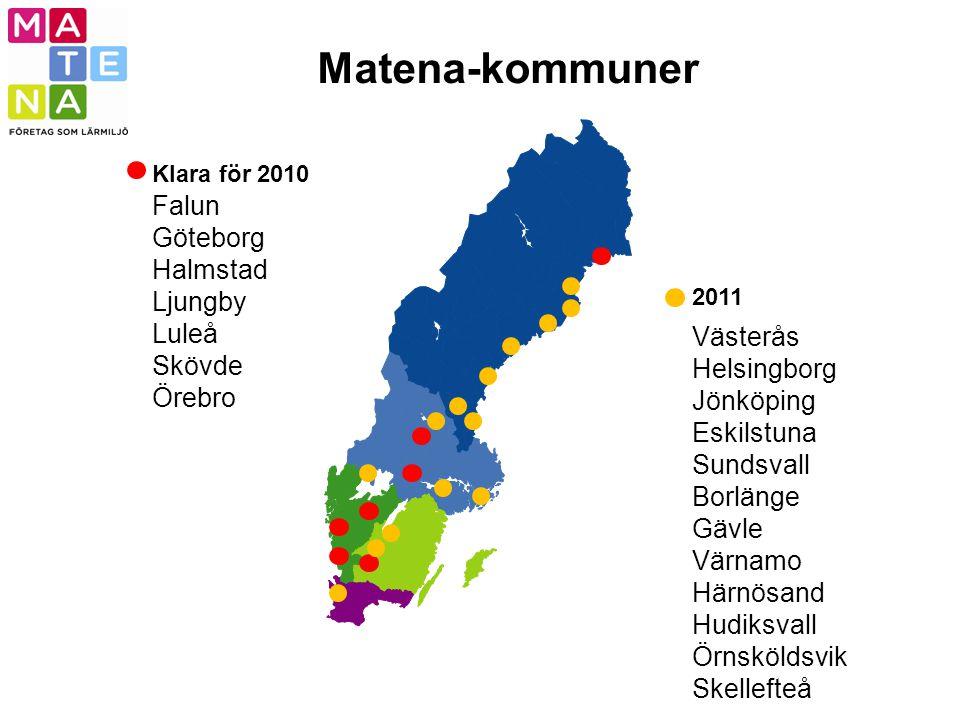 Matena-kommuner 2011 Klara för 2010 Falun Göteborg Halmstad Ljungby Luleå Skövde Örebro Västerås Helsingborg Jönköping Eskilstuna Sundsvall Borlänge G