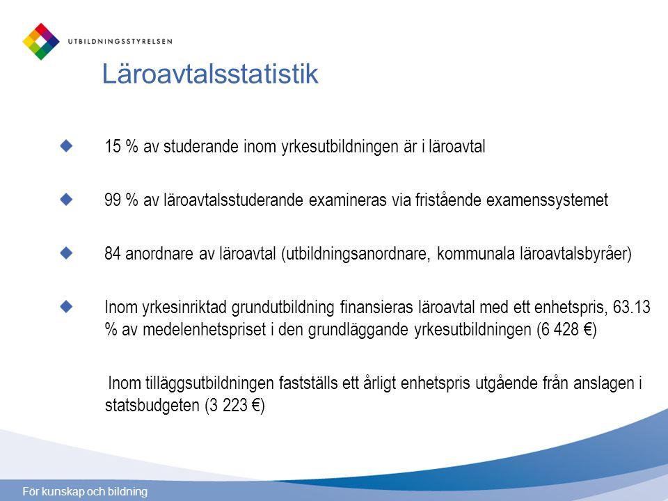 För kunskap och bildning Examina inom läroavtalsutbildningen 2005 -2009