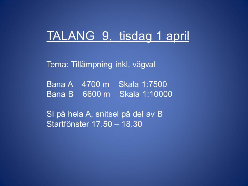 TALANG 9, tisdag 1 april Tema: Tillämpning inkl.