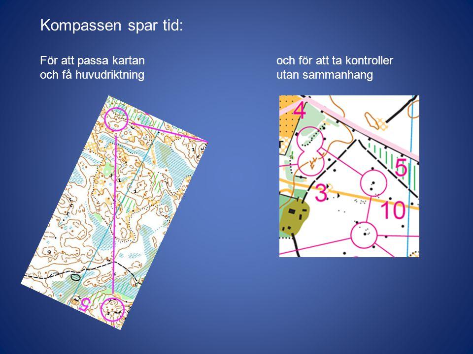 Kompassen spar tid: För att passa kartan och för att ta kontroller och få huvudriktningutan sammanhang