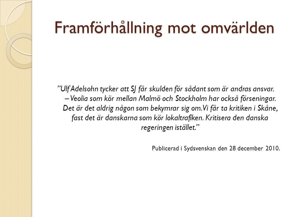 Framförhållning mot omvärlden Ulf Adelsohn tycker att SJ får skulden för sådant som är andras ansvar.