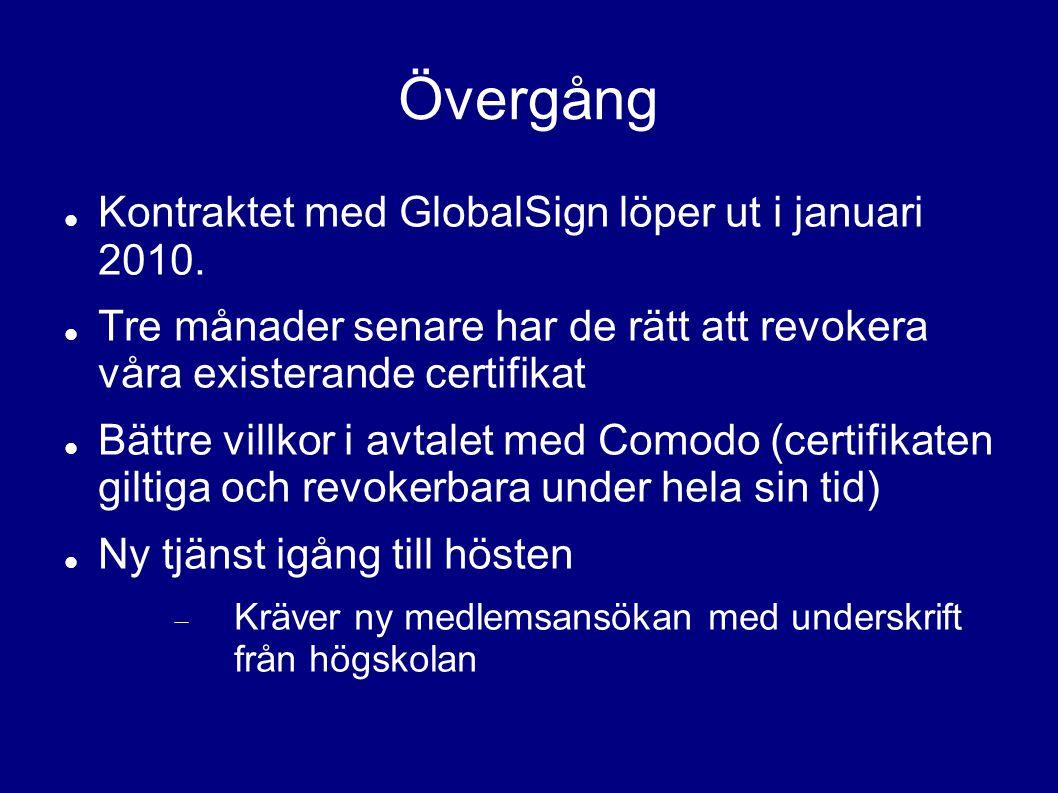 Övergång Kontraktet med GlobalSign löper ut i januari 2010.