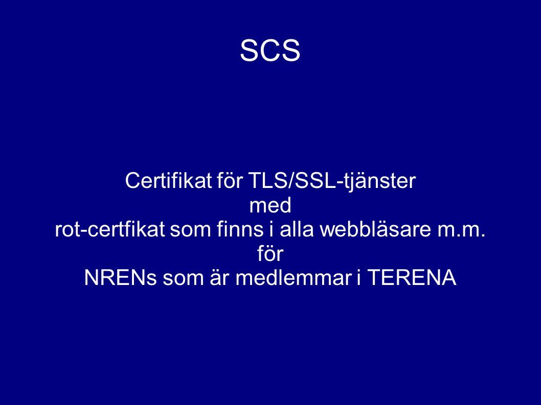 SCS Certifikat för TLS/SSL-tjänster med rot-certfikat som finns i alla webbläsare m.m.