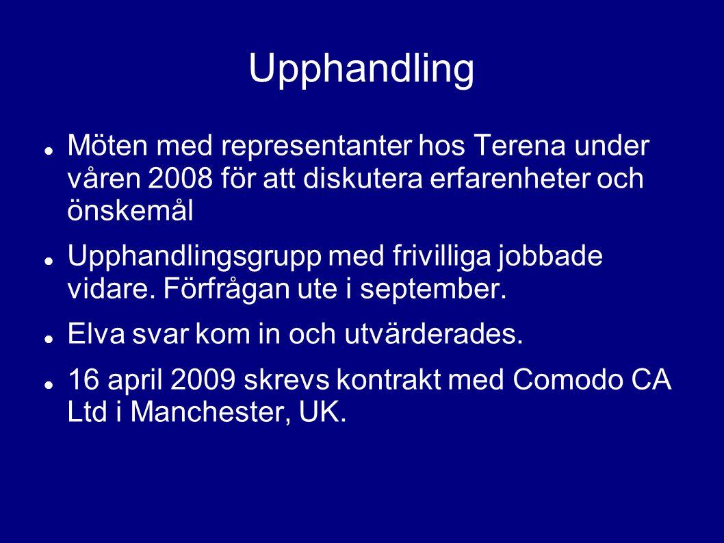 Upphandling Möten med representanter hos Terena under våren 2008 för att diskutera erfarenheter och önskemål Upphandlingsgrupp med frivilliga jobbade vidare.