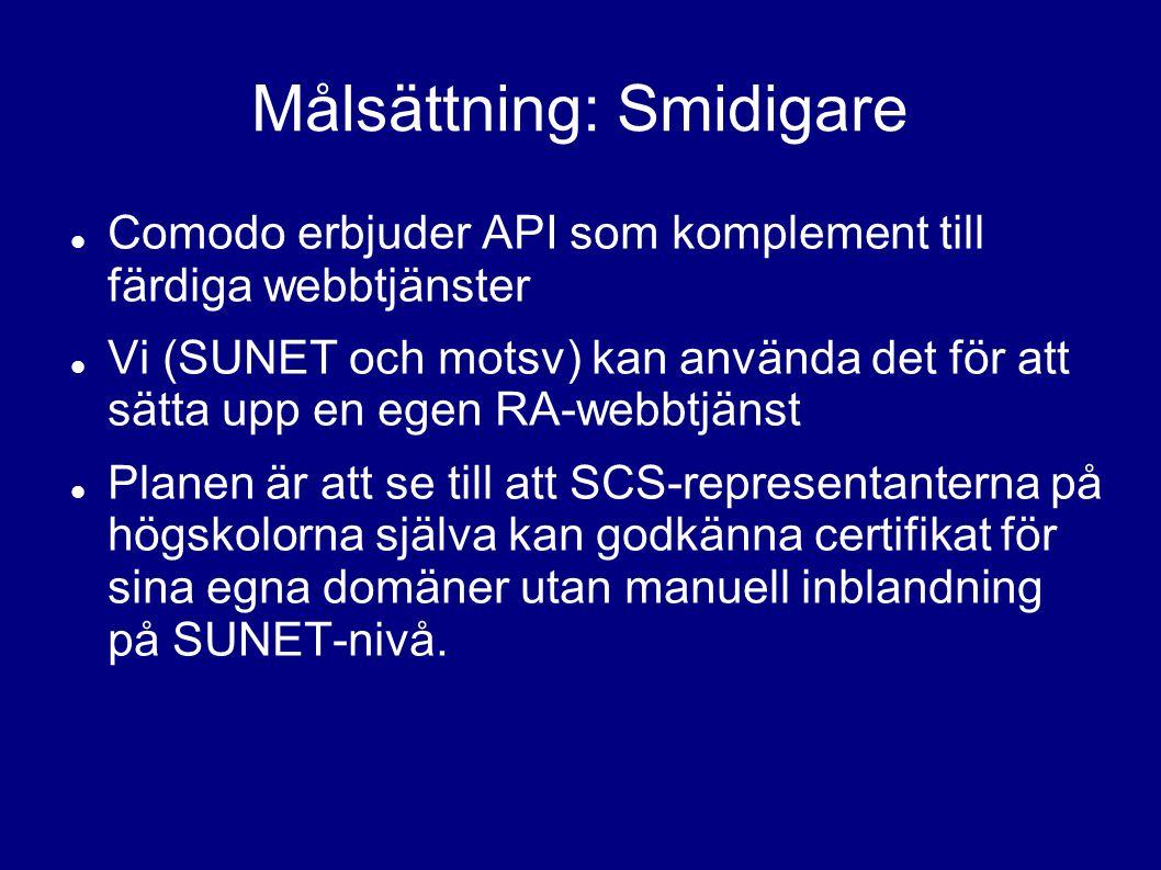 Målsättning: Smidigare Comodo erbjuder API som komplement till färdiga webbtjänster Vi (SUNET och motsv) kan använda det för att sätta upp en egen RA-webbtjänst Planen är att se till att SCS-representanterna på högskolorna själva kan godkänna certifikat för sina egna domäner utan manuell inblandning på SUNET-nivå.