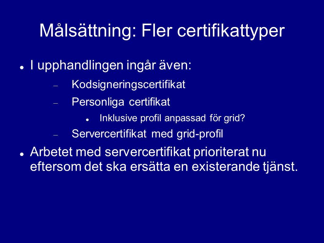 Målsättning: Fler certifikattyper I upphandlingen ingår även:  Kodsigneringscertifikat  Personliga certifikat Inklusive profil anpassad för grid.