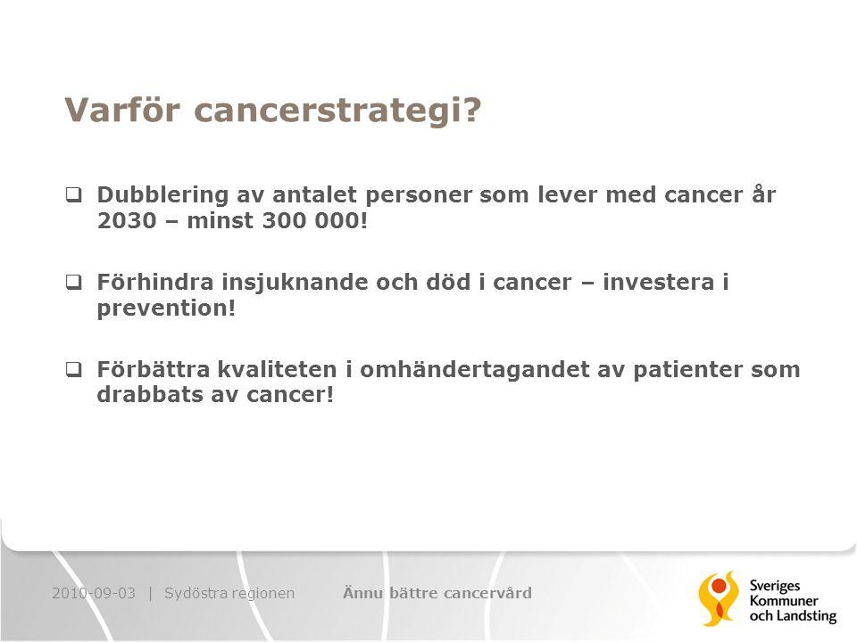 Överenskommelsen om Cancerstrategin 1.Försöksverksamhet för patientfokuserad och sammanhållen cancervård 2010-2012 2.Informationstjänst om cancer på Internet 2010 3.Tidig upptäckt av cancer genom screening 2010-2012 4.Internationell jämförelse 2010-2012 5.Nationella kvalitetsregister inom cancerområdet 2010 6.Insatser för att minska tobaksrökning 2010-2012 2010-09-03 | Sydöstra regionenÄnnu bättre cancervård