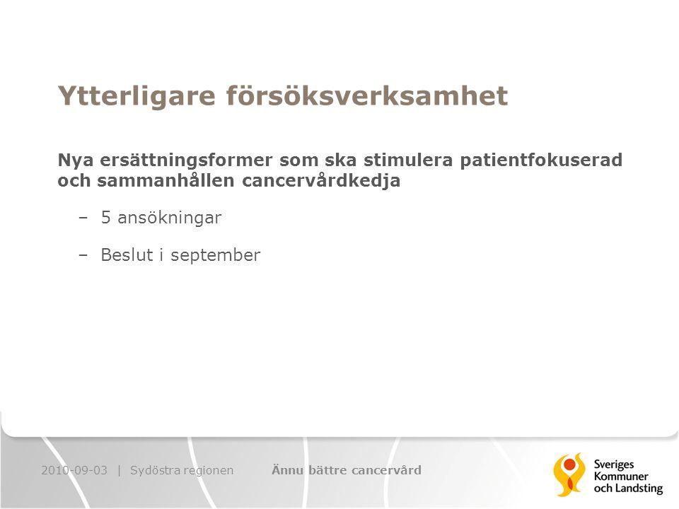 Ytterligare försöksverksamhet Nya ersättningsformer som ska stimulera patientfokuserad och sammanhållen cancervårdkedja – 5 ansökningar – Beslut i september 2010-09-03 | Sydöstra regionenÄnnu bättre cancervård