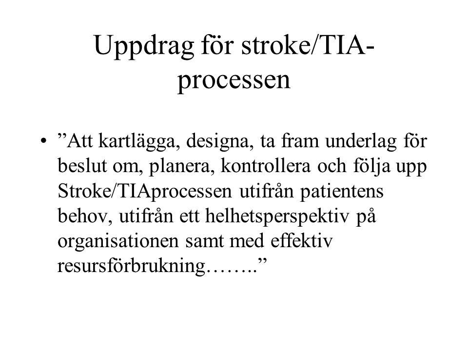 """Uppdrag för stroke/TIA- processen """"Att kartlägga, designa, ta fram underlag för beslut om, planera, kontrollera och följa upp Stroke/TIAprocessen utif"""