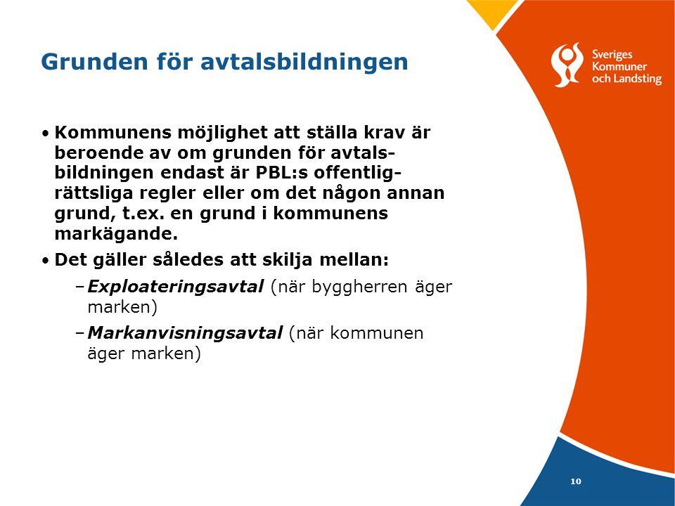 10 Grunden för avtalsbildningen Kommunens möjlighet att ställa krav är beroende av om grunden för avtals- bildningen endast är PBL:s offentlig- rättsl
