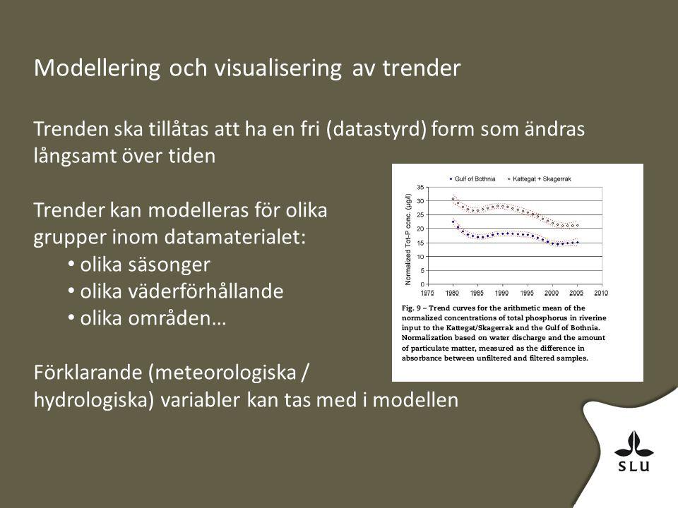 Modellering och visualisering av trender Trenden ska tillåtas att ha en fri (datastyrd) form som ändras långsamt över tiden Trender kan modelleras för olika grupper inom datamaterialet: olika säsonger olika väderförhållande olika områden… Förklarande (meteorologiska / hydrologiska) variabler kan tas med i modellen