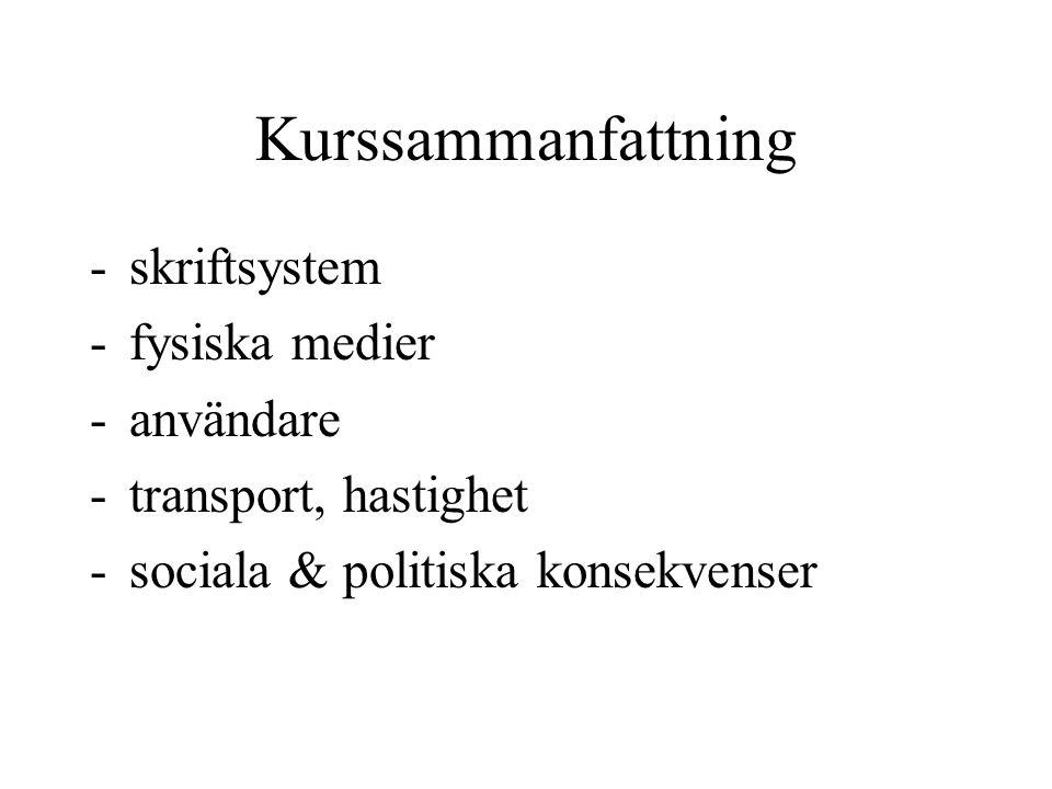Kurssammanfattning -skriftsystem -fysiska medier -användare -transport, hastighet -sociala & politiska konsekvenser