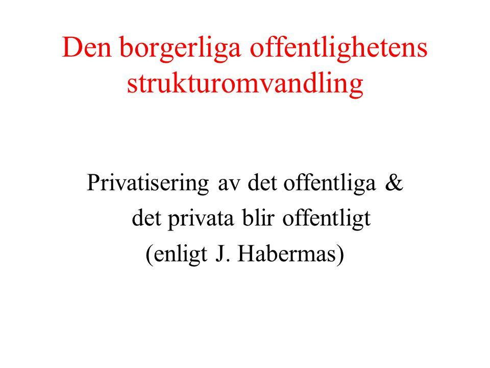 Den borgerliga offentlighetens strukturomvandling Privatisering av det offentliga & det privata blir offentligt (enligt J. Habermas)