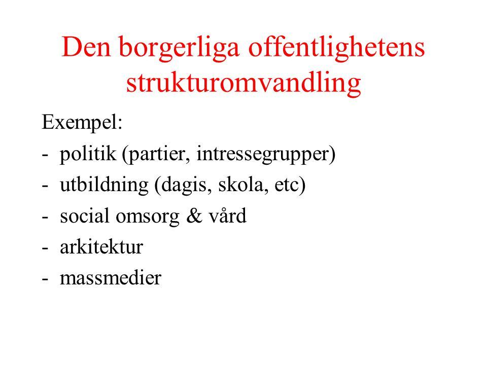 Den borgerliga offentlighetens strukturomvandling Exempel: -politik (partier, intressegrupper) -utbildning (dagis, skola, etc) -social omsorg & vård -