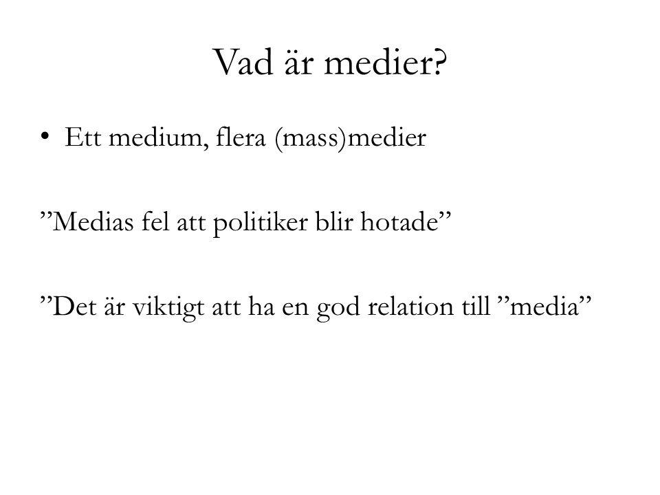 """Vad är medier? Ett medium, flera (mass)medier """"Medias fel att politiker blir hotade"""" """"Det är viktigt att ha en god relation till """"media"""""""