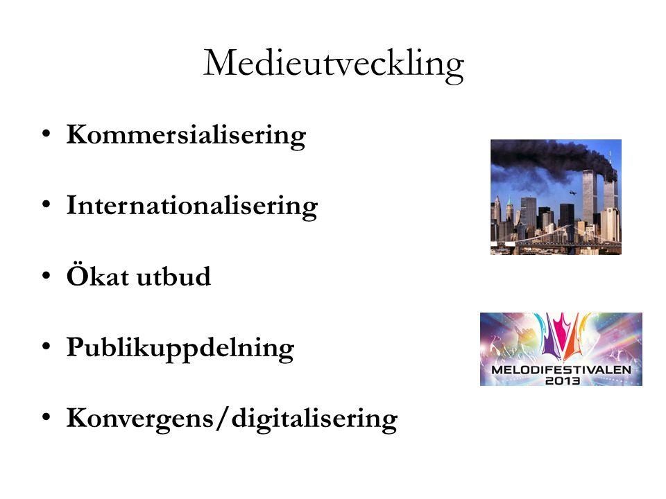 Medieutveckling Kommersialisering Internationalisering Ökat utbud Publikuppdelning Konvergens/digitalisering