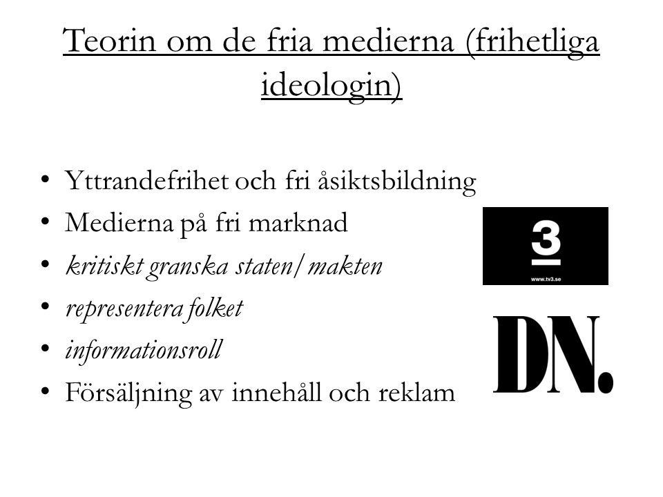 Teorin om de fria medierna (frihetliga ideologin) Yttrandefrihet och fri åsiktsbildning Medierna på fri marknad kritiskt granska staten/makten represe