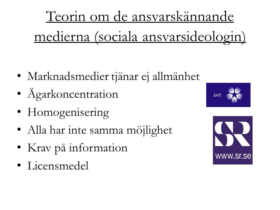 Teorin om de ansvarskännande medierna (sociala ansvarsideologin) Marknadsmedier tjänar ej allmänhet Ägarkoncentration Homogenisering Alla har inte sam